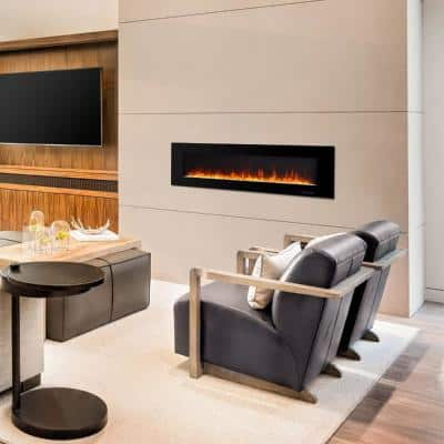 72 in. Wall-Mounted Electric Fireplace in Black