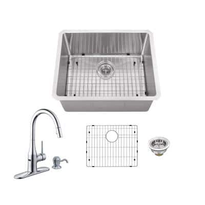 All-in-One Undermount 16-Gauge Stainless Steel 23 in. 0-Hole Single Bowl Kitchen Sink with Sensor Kitchen Faucet