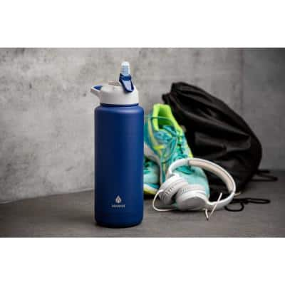 Ranger Straw Lid 40 oz. Navy Stainless Steel Insulated Bottle