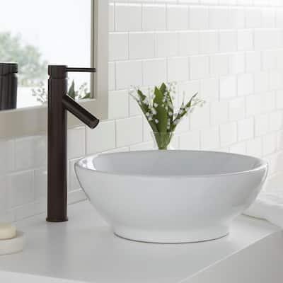 Modern Single Hole Single-Handle Vessel Bathroom Faucet in Bronze with Drain
