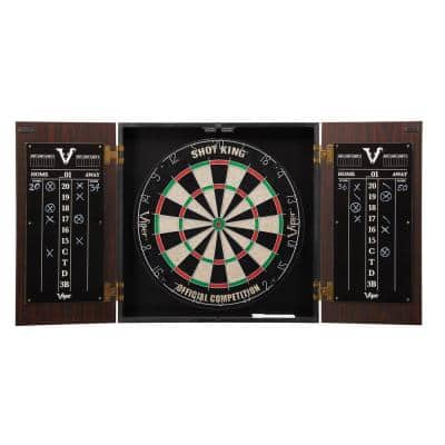Stadium Shot King Sisal 17.75 in. Dartboard with Cabinet and Accessories