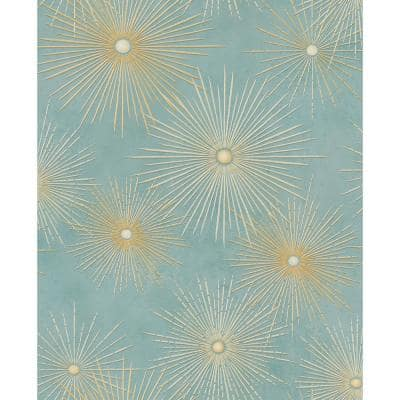 Catwalk Starburst Metallic Gold and Turquoise Paper Strippable Roll (Covers 56.05 sq. ft.)