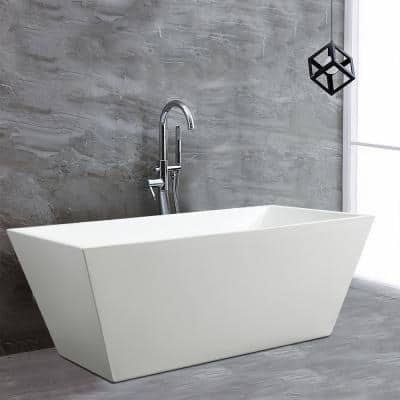 Narbonne 67 in. Acrylic Flatbottom Freestanding Bathtub in White