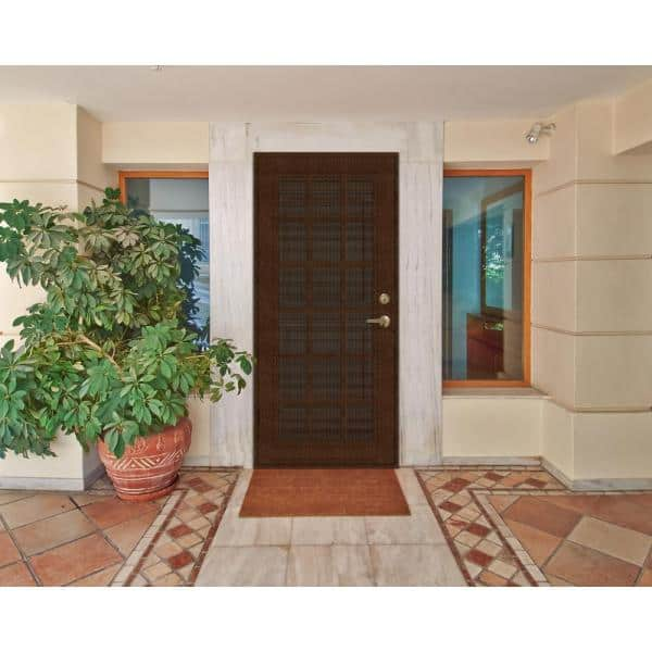 Unique Home Designs 30 In X 80 In Classic French Copperclad Right Hand Surface Mount Security Door With Black Perforated Metal Screen 1s2026cl2ccp5a The Home Depot