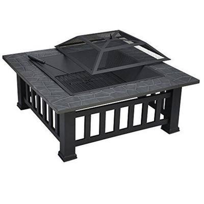 21.89 in. x 21.89 in. x 16.93 in. Square Iron Charcoal Antique Fire Pit with Cover
