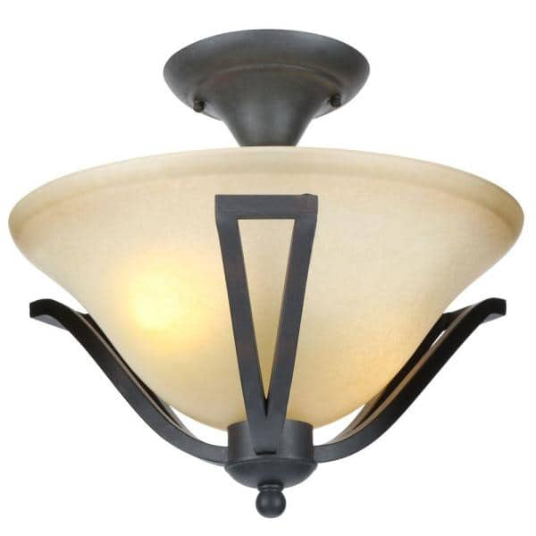 Commercial Electric 13 In 2 Light Rustic Iron Semi Flush Mount With Antique Ivory Glass Shade Ess8212 The Home Depot