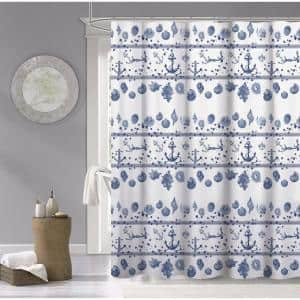 100% Cotton 70 in. x 72 in. Marine Printed Shower Curtain