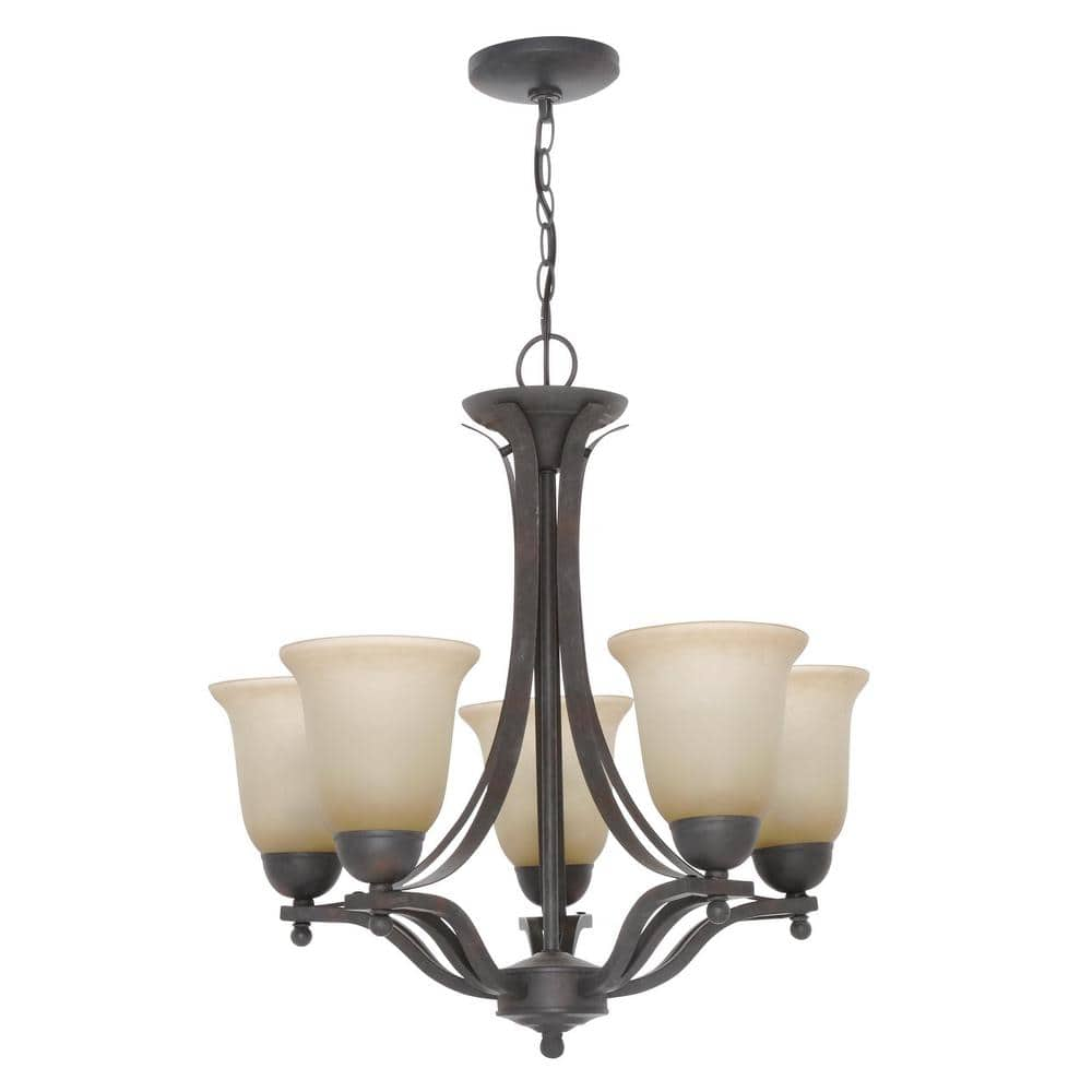 Hampton Bay 5 Light Rustic Iron Chandelier With Antique Ivory Glass Shades Ess8115 3 The Home Depot