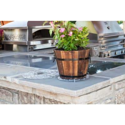 10 in. Dia x 8 in. H Brown Wooden Small Round Whiskey Barrel Planter