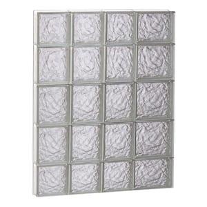 25 in. x 34.75 in. x 3.125 in. Frameless Ice Pattern Non-Vented Glass Block Window
