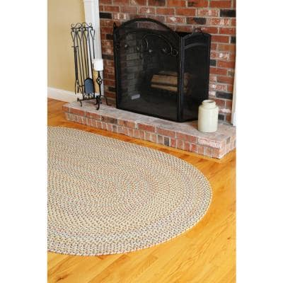 Revere Earth Beige 8 ft. x 8 ft. Round Indoor/Outdoor Braided Area Rug