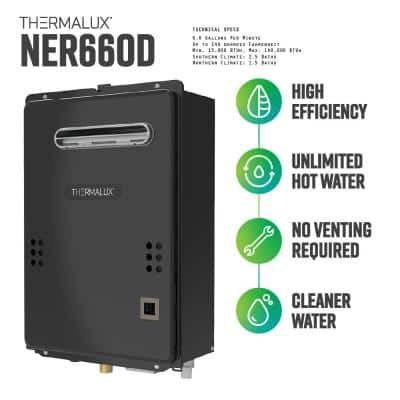 6.6 GPM Liquid Propane Outdoor (Front Exhaust) Residential Tankless Water Heater - 140,000 BTU