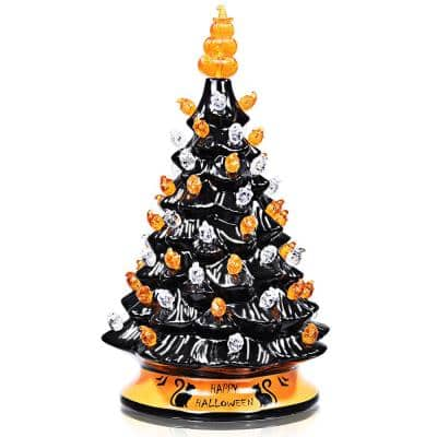 15 in. Black Battery Powered LED Hand-Painted Halloween Tree