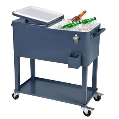 80 Qt. Stainless Steel Patio Cooler with Wheels in Gray