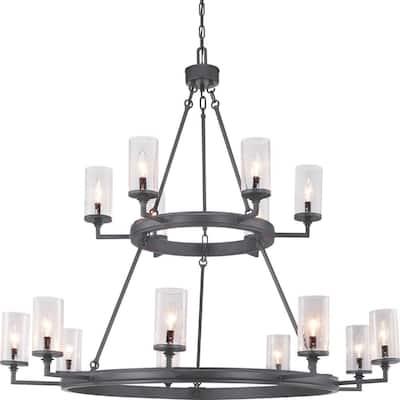 Gresham Collection 15-Light Graphite Clear Seeded Glass Farmhouse Chandelier Light