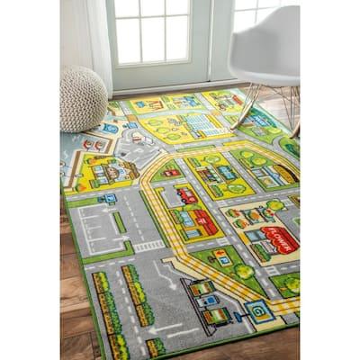 Fairytale Town Playmat Green 7 ft. x 9 ft.  Area Rug
