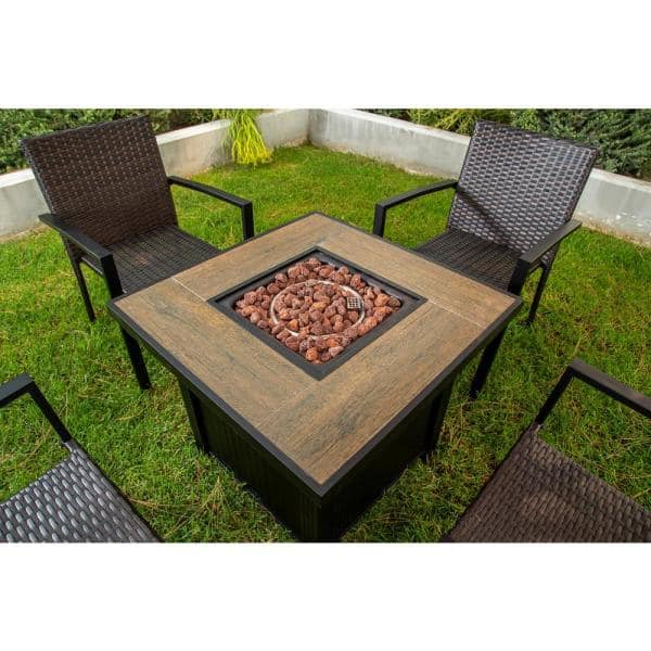 Direct Wicker Maxwell 5 Piece Patio Fire Pit Dining Sets With Gas Table Inq F666312 The Home Depot