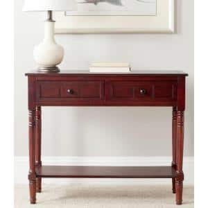 Samantha 36 in. Dark Cherry Standard Rectangle Wood Console Table with Drawers