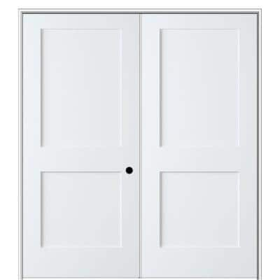 Shaker Flat Panel 56 in. x 80 in. Left Hand Active Solid Core Primed HDF Double Prehung French Door with 6-9/16 in. Jamb