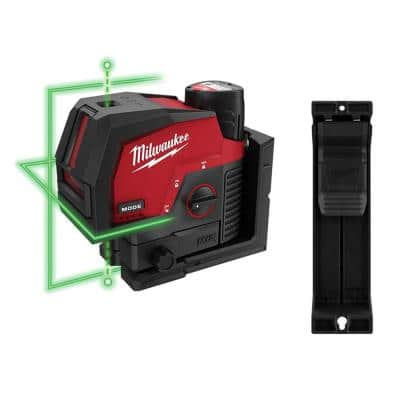 M12 12-Volt Lithium-Ion Cordless Green 125 ft. Cross Line and Plumb Points Laser Level Kit w/3.0 Ah Battery & Track Clip