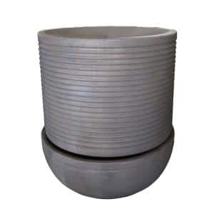 Ribs 25 in. Gray Round Outdoor Tabletop Fountain