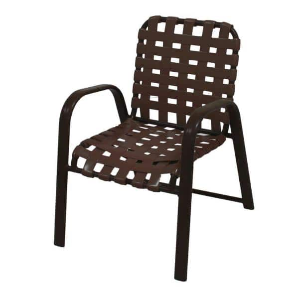 Marco Island Commercial Grade Aluminum Patio Dining Chair With Vinyl Cross Straps 2 Pack 3200cs R L The Home Depot