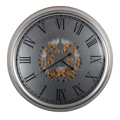 Urban Industrial Wall Clock - Silver