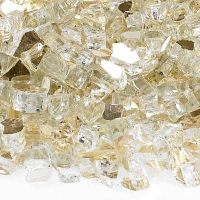1/4 in. Gold Reflective Fire Glass 10 lbs. Bag