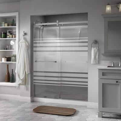 Everly 60 x 71 in. Frameless Contemporary Sliding Shower Door in Nickel with Transition Glass