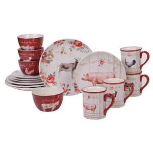 Farmhouse 16-Piece Country/Cottage Multi-Colored Ceramic Dinnerware Set (Service for 4)