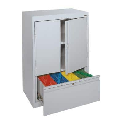 System Series 30 in. W x 42 in. H x 18 in. D Counter Height Storage Cabinet with File Drawer in Dove Gray