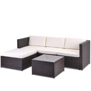 5 Piece Wicker Outdoor Patio Rattan Small Sectional Sofa Couch Conversation Set with Beige Cushions