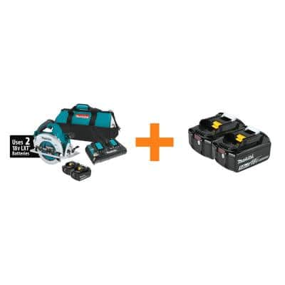 Makita 18-Volt X2 LXT Lithium-Ion Cordless Circular Saw Kit + 18-Volt Lithium-Ion Battery Pack