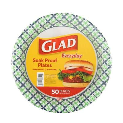 10 in. Round Paper Plates Happy Daisies (50-Count)