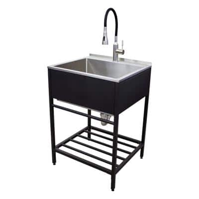 25 in. x 22 in. x 34 in. Stainless Steel Apron-Front Freestanding Utility/Laundry Sink with Wash Stand in Matte Black