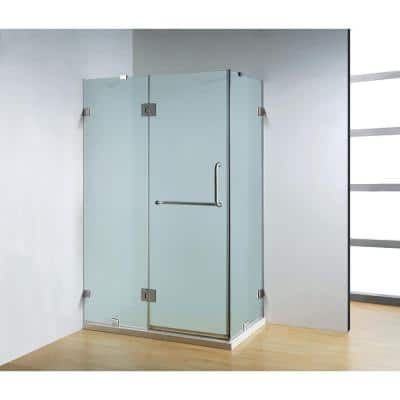 47 in. x 35 in. x 79 in. Frameless Neo-Angle Hinged Shower Door in Chrome with Handle