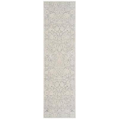 Reflection Light Gray/Cream 2 ft. x 12 ft. Floral Distressed Runner Rug