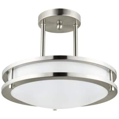 12 in. 1-Light Brushed Nickel Selectable LED Round Dimmable Semi Flush Mount Fixture, CCT Color Tunable 30K 40K 50K