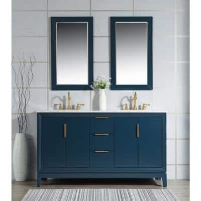 Elizabeth 60 in. Monarch Blue With Carrara White Marble Vanity Top With Ceramics White Basins