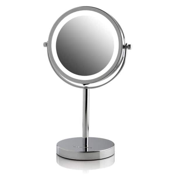 Ovente - LED Lighted Tabletop Mirror, Cordless, Battery Operated, LED Lights, Polished Chrome with 1x or 7x Magnification