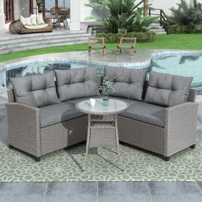 4-Piece Wicker Outdoor Sectional with Round Table and Gray Cushions