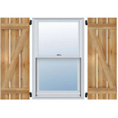 """17-1/8"""" X 55""""Timbercraft Rustic Wood Three 5-3/8""""Spaced Board and Batten Shutters with Z-Bar Rough Sawn Cedar(pair)"""