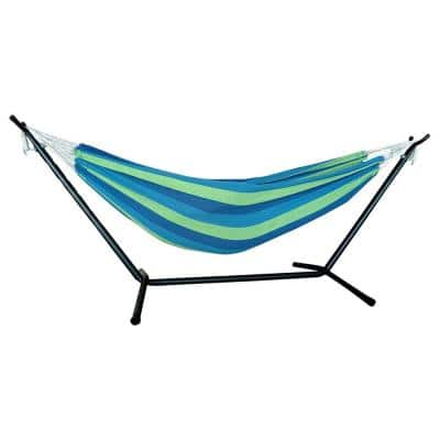 Stripe 9 ft. Freestanding Hammock with Stand in Blue/Green Colors
