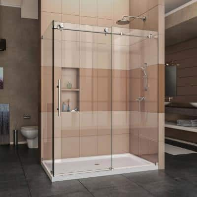 Enigma-X 32 1/2 in. D x 60 3/8 in. W x 76 in. H Frameless Corner Sliding Shower Enclosure in Brushed Stainless Steel