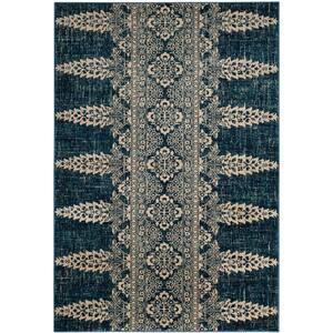Evoke Royal/Ivory 5 ft. x 8 ft. Tribal Floral Area Rug