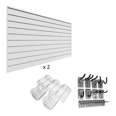 PVC Slatwall 8 ft. x 8 ft. White Ultimate Bundle (25-Piece)
