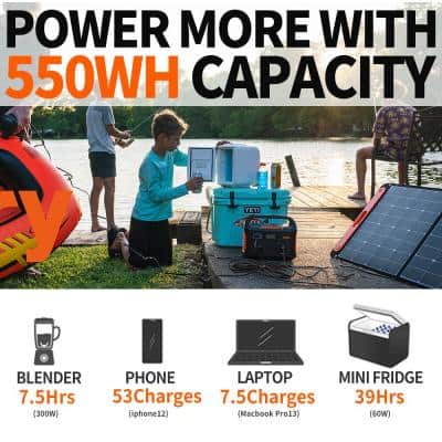 Explorer 550 Outdoor Portable Power Station, 550Wh Solar Generator with AC Outlet for Road Trip Camping/Emergency Use