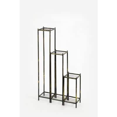 17 in., 28.5 in., 40 in. Gray Stone Slab Black/Gold Cast Metal Plant Stands Set Of 3