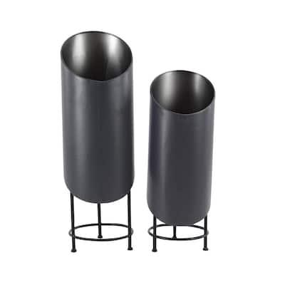 Modern Black Cylinder Metal Planters (Set of 2)