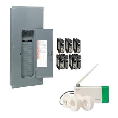 Homeline 200 Amp. 30-Space 60-Circuit Indoor Main Breaker Qwik-Grip Plug-On Neutral Panel, Wiser Energy Monitor